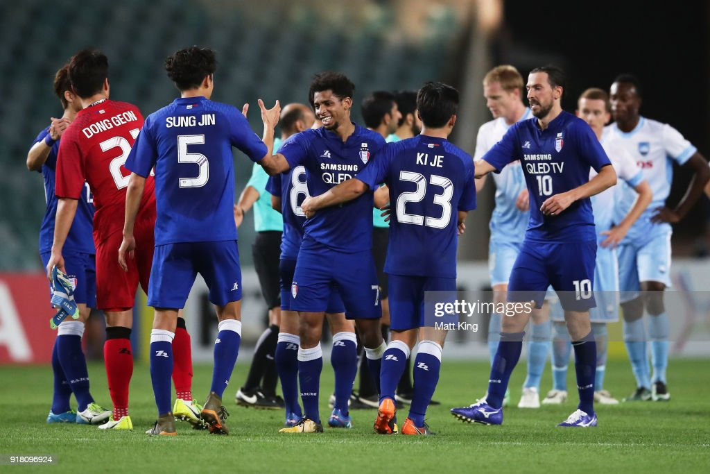 Suwon Bluewings celebrate victory during the AFC Asian Champions League match between Sydney FC and Suwon Bluewings at Allianz Stadium on February 14, 2018 in Sydney, Australia.