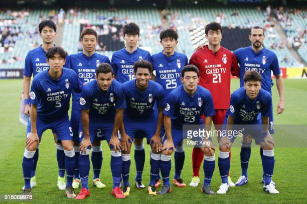 Suwon Bluewings line up during the AFC Asian Champions League match between Sydney FC and Suwon Bluewings at Allianz Stadium on February 14 2018 in...
