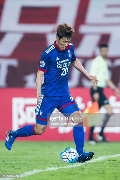 Suwon Forward Yu Hanchao in action during the AFC Champions League 2017 Group G match between Guangzhou Evergrande FC vs Suwon Samsung Bluewings at...