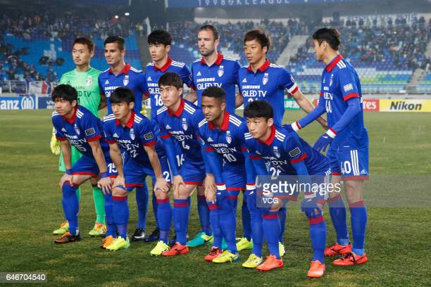 Suwon Samsung Bluewings players line up prior to the AFC Champions League 2017 Group G match between Suwon Samsung Bluewings and Guangzhou Evergrande...
