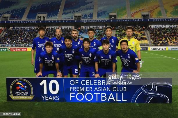 Suwon Samsung Bluewings team during the AFC Champions League semi final second leg match between Suwon Samsung Bluewings and Kashima Antlers at Suwon...