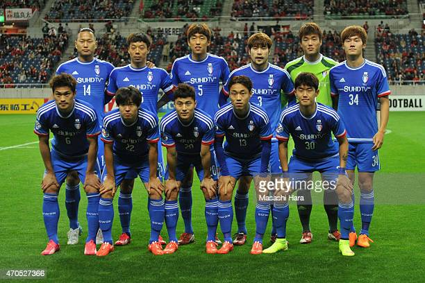 Suwon Samsung FC players pose for photograph prior to the AFC Champions League Group G match between Urawa Red Diamonds and Suwon Samsung FC at...
