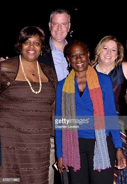 Suzan Johnson Cook Mayor Bill de Blasio Chirlane McCray and Abigail Disney attend the premiere of 'The Armor Of Light' during the 2015 Tribeca Film...
