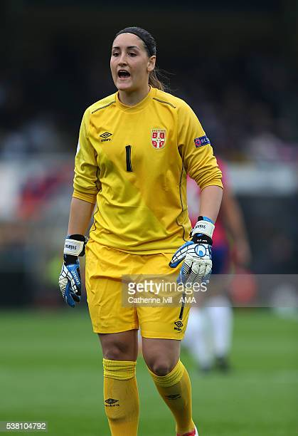 Suzana Nilson of Serbia during the UEFA Women's European Championship Qualifier match between England and Serbia at Adams Park on June 4 2016 in High...