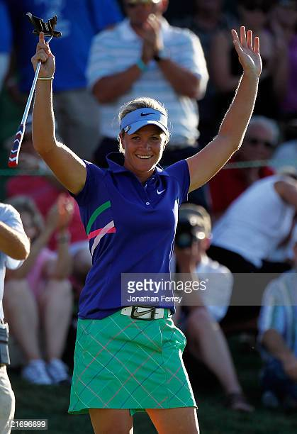 Suzann Pettersen celebrates winning in a playoff against Na yYeon Choi on the 18th hole during the final round of Safeway Classic at Pumpkin Ridge...