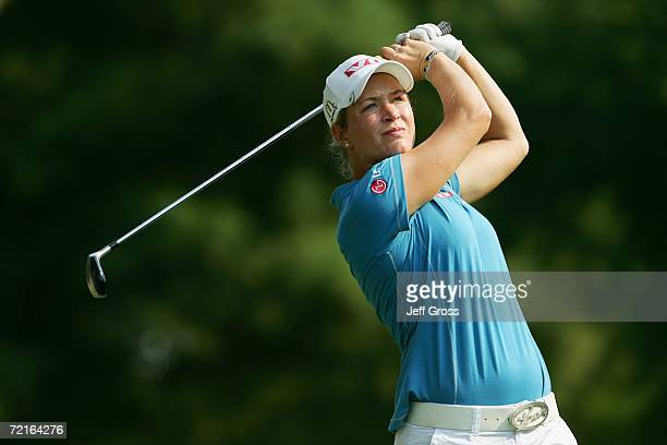 Suzann Pettersen hits a shot during the second round of the John Q Hammons Hotel Classic on September 9 2006 at the Cedar Ridge Country Club in...