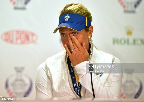 Suzann Pettersen looks on as Captain of Team Europe Annika Sorenstam announces Catriona Matthew as her replacement during a press conference for The...