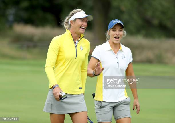 Suzann Pettersen of Norway and Melissa Reid of England European Team members enjoy themselves during practice for the 2017 Solheim Cup Matches at Des...