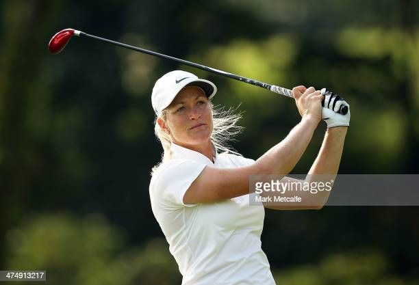 Suzann Pettersen of Norway hits an approach shot on the seventh hole during the Pro Am event prior to the start of the HSBC Women's Champions at the...