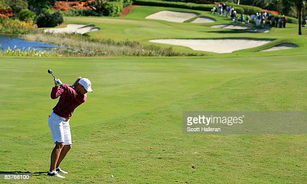 Suzann Pettersen of Norway hits her second shot on the third hole during the first round of the ADT Championship at the Trump International Golf Club...