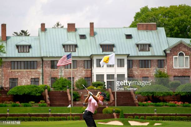 Suzann Pettersen of Norway hits her second shot to the ninth green during round one of the Sybase Match Play Championship at Hamilton Farm Golf Club...