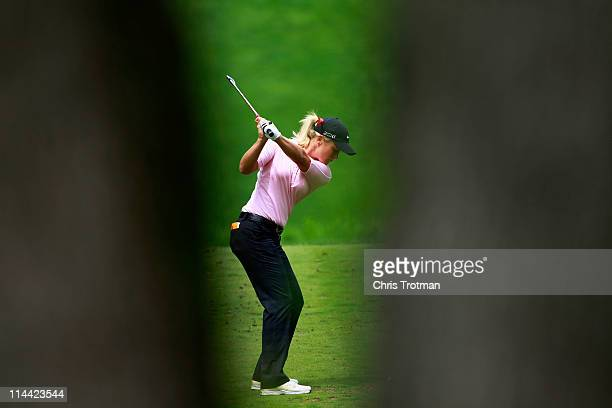 Suzann Pettersen of Norway hits her tee shot on the eighth hole during round one of the Sybase Match Play Championship at Hamilton Farm Golf Club on...