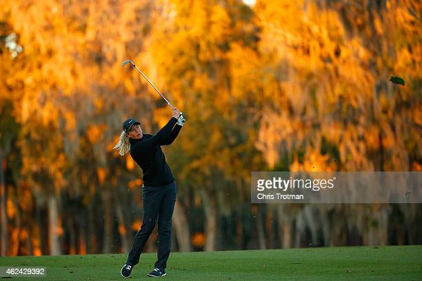 Suzann Pettersen of Norway hits her third shot on the 18th hole at the Coates Golf Championship Presented by RL Carriers Round One at the Golden...