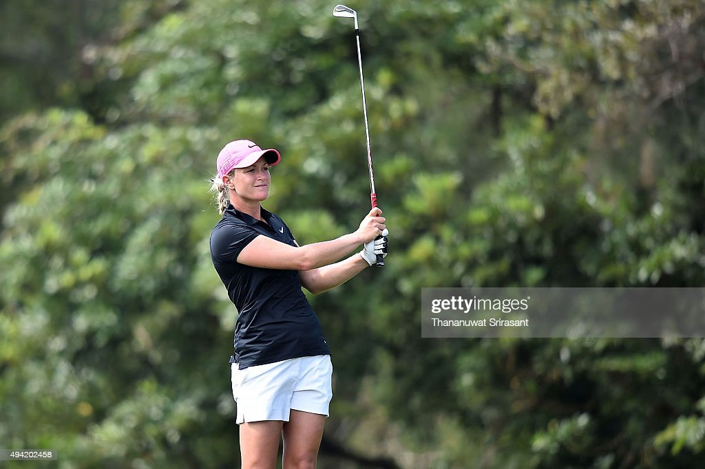 Suzann Pettersen of Norway looks on during the final round of 2015 Fubon LPGA Taiwan Championship on October 25, 2015 in Miramar Resort & Country Club Taipei, Taiwan.