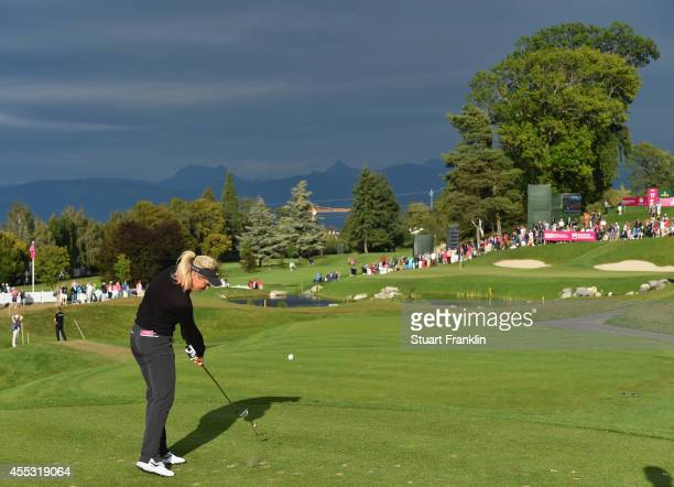 Suzann Pettersen of Norway plays a shot during the second round of The Evian Championship at the Evian Resort Golf Club on September 12 2014 in...