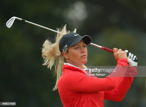 Suzann Pettersen of Norway plays an approach shot during day one of the ISPS Handa Women's Australian Open at The Victoria Golf Club on February 13,...