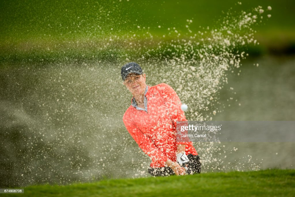 Suzann Pettersen of Norway plays her second shot from a bunker at the thirteenth hole during the third round of the Volunteers of America North Texas Shootout at Las Colinas Country Club on April 29, 2017 in Irving, Texas.