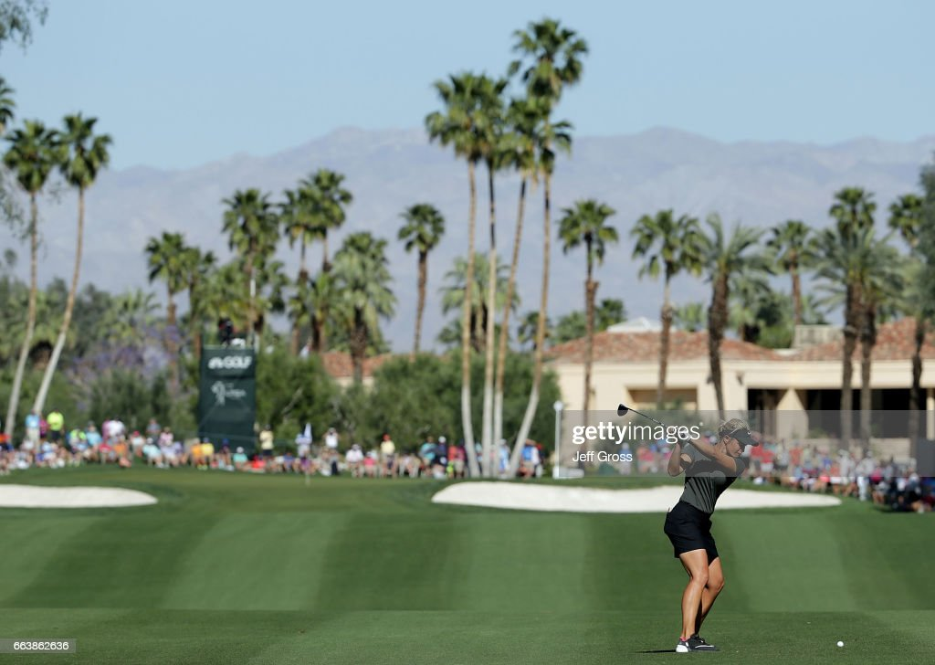 Suzann Pettersen of Norway plays her second shot from the ninth fairway during the final round of the ANA Inspiration at the Dinah Shore Tournament Course at Mission Hills Country Club on April 2, 2017 in Rancho Mirage, California.