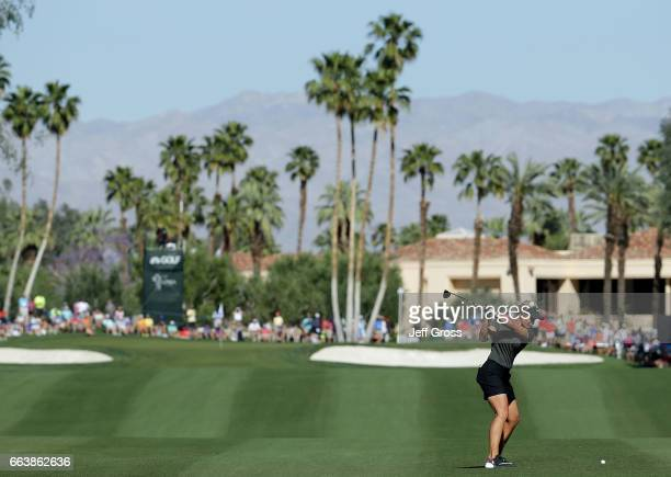 Suzann Pettersen of Norway plays her second shot from the ninth fairway during the final round of the ANA Inspiration at the Dinah Shore Tournament...