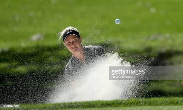 Suzann Pettersen of Norway plays her second shot on the par 3 eighth hole during the final round of the 2017 ANA Inspiration held on the Dinah Shore...