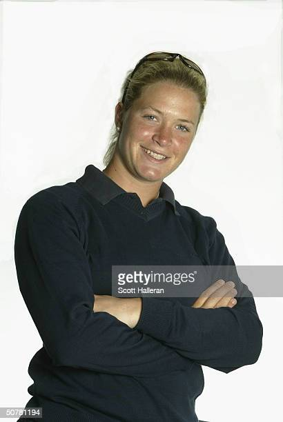 Suzann Pettersen of Norway poses for a portrait prior to the start of the ChickfilA Charity Championship at Eagle's Landing Country Club on April 28...