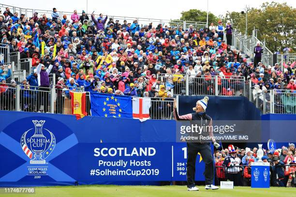 Suzann Pettersen of Team Europe gets the crowd excited on the first tee during Day 2 of the Solheim Cup at Gleneagles on September 14 2019 in...