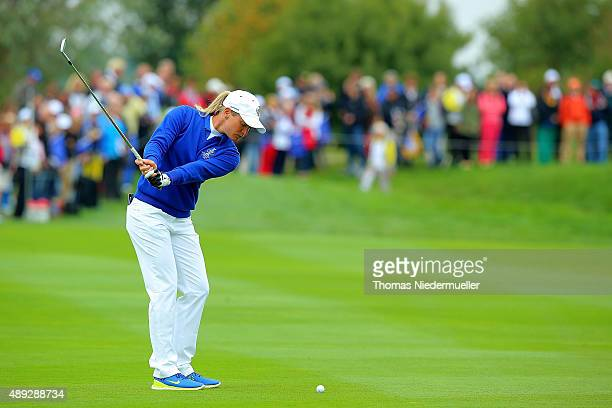 Suzann Pettersen of the European Team shots her third ball at the first hole during the Sundays single matches in the 2015 Solheim Cup at St LeonRot...