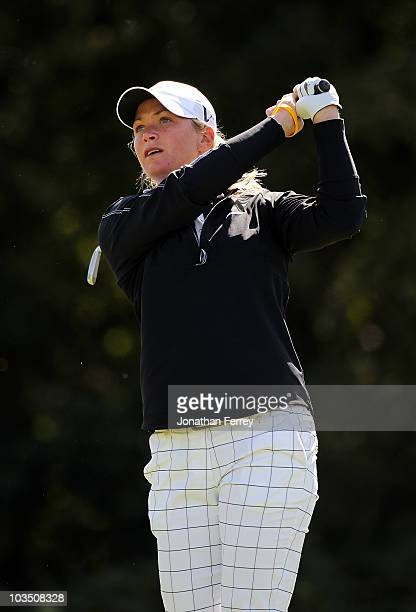 Suzann Pettersen tees off on the 16th hole during the first round of the Safeway Classic at Pumpkin Ridge Golf Club on August 20 2010 in North Plains...