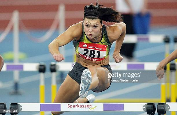 Suzanna Kallur of Sweden competes in the 60m hurdles during the Sparkassen Cup 2008 at the Hanns-Martin Schleyer Hall on February 2, 2008 in...