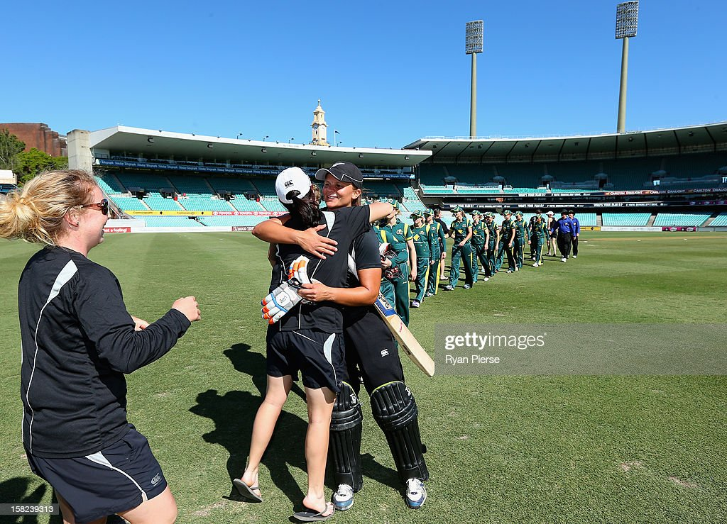 Suzannah Bates of New Zealand celebrates victory after the first Rose Bowl Series One Day International match between Australia Southern Stars and New Zealand Silver Ferns at the Sydney Cricket Ground on December 12, 2012 in Sydney, Australia.