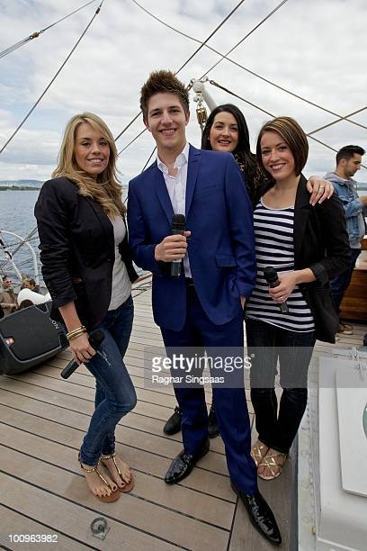 Suzanne Carley Josh Dubovie Joanna Breheny and Kirsten Joy Gill of the UK attend The Big 4 Boat Trip onboard Christian Radich on May 25 2010 in Oslo...