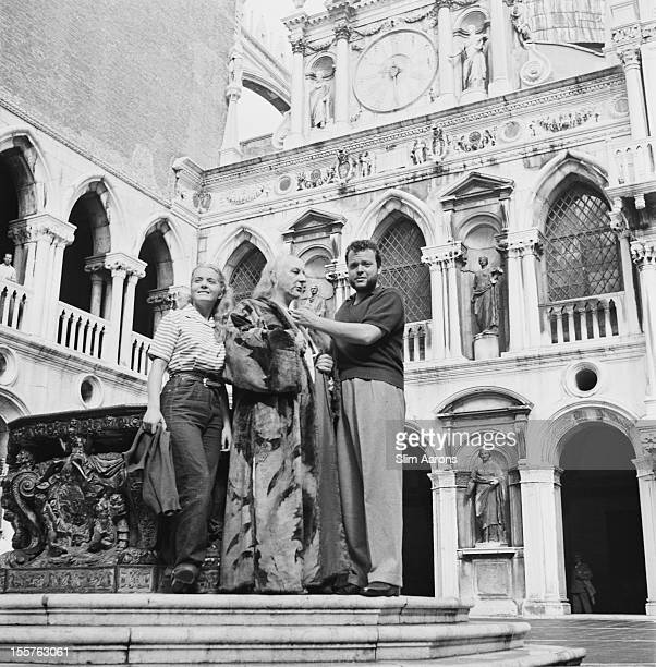 Suzanne Cloutier Canadian actress British actor Micheal Mac Liammoir and US film director and actor Orson Welles posing for a portrait outside Saint...