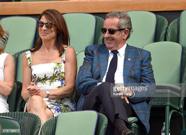 Suzanne Danielle and Sam Torrance attends day seven of the Wimbledon Tennis Championships at Wimbledon on July 6 2015 in London England
