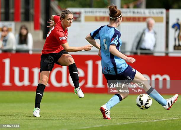 Suzanne Davies of Sheffield FC scores their opening goal during the FA Women's Premier League match between Sheffield FC Ladies and Coventry City...