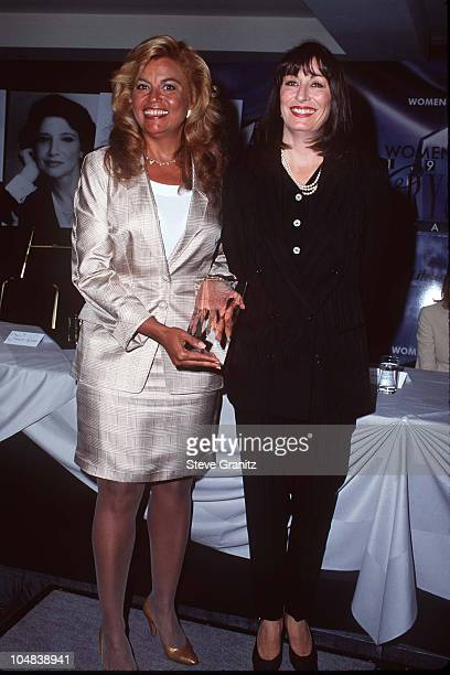 Suzanne De Passe Anjelica Huston during The 20th Annual Crystal Awards Women in Film at Century Plaza Hotel in Century City California United States