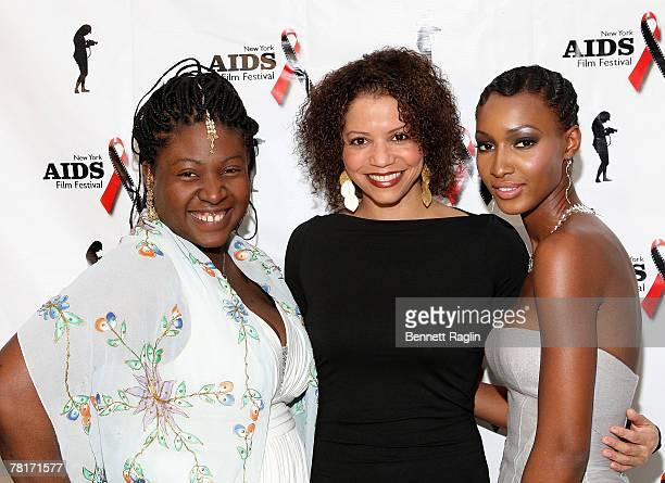 Suzanne Engo Executive Director New York AIDS Film Festival actress Glora Reuben 2007 Jack Valenti award recipient and model Yomi Abiola attend the...
