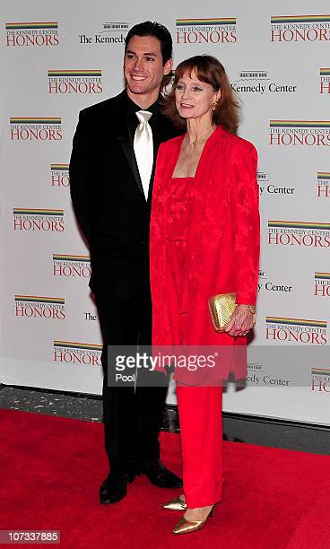 Suzanne Farrell one of the 2005 Kennedy Center honorees arrives with Michael Cook for the formal artist's dinner for the Kennedy Center Honors at the...