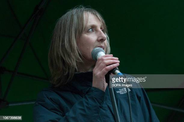 Suzanne Jeffery Campaign against Climate Change speaks at the Together for Climate Justice Protest Hundreds of people rallied in Portland Place near...