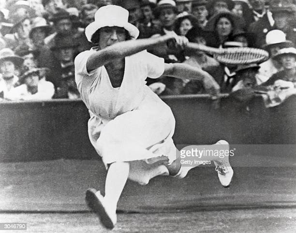 Suzanne Lenglen of France competes in the Womens tennis event during the VII Olympic Games circa April of 1920 in Antwerp Belgium