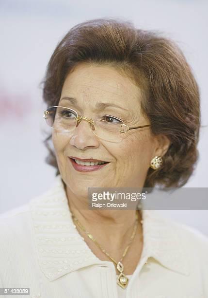 Suzanne Moubarak, wife of Egyptian President Hosni Moubarak attends the opening of the Frankfurt bookfair on October 7, 2004 in Frankfurt, Germany....