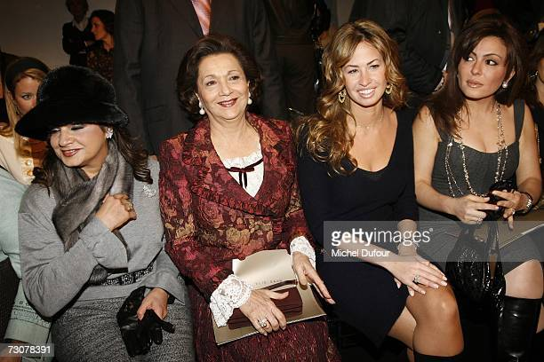 Suzanne Mubarak and guests attend the Elie Saab Fashion show, during Paris Fashion Week Spring-Summer 2007 at Musee de l homme on January 22, 2007 in...
