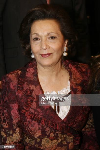 Suzanne Mubarak attends the Elie Saab Fashion show, during Paris Fashion Week Spring-Summer 2007 at Musee de l homme on January 22, 2007 in Paris,...