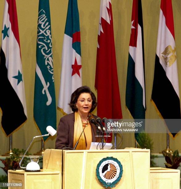 Suzanne Mubarak, wife of Egyptian President Hosni Mubarak, gives the opening speech at the extraordinary Arab Women's Summit in Cairo 11 November...