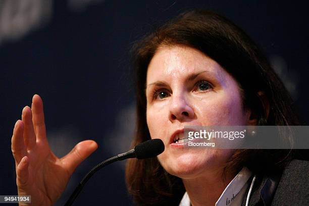 Suzanne Nora Johnson former vice chairman of Goldman Sachs Group Inc speaks during a session on day one of the World Economic Forum in Davos...