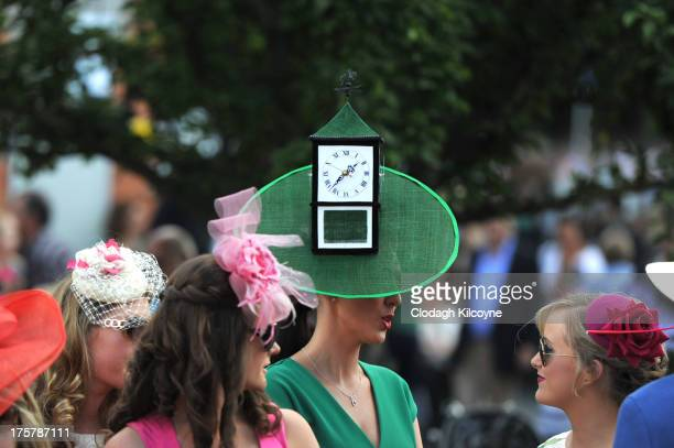 Suzanne O'Brien from Limerick who made her own hat with her Dad takes part in ladies day at the Royal Dublin Society Dublin horse show at Royal...