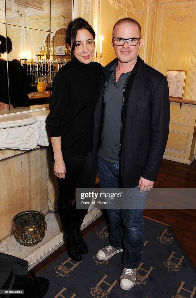 Suzanne Pirret (L) and Heston Blumenthal attend an after party celebrating the new cast of 'One Man, Two Guvnors' at the Theatre Royal Haymarket on February 12, 2013 in London, England.