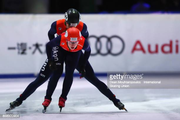 Suzanne Schulting and Jorien Ter Mors of the Netherlands compete in the 3000m Women Relay during the Audi ISU World Cup Short Track Speed Skating at...