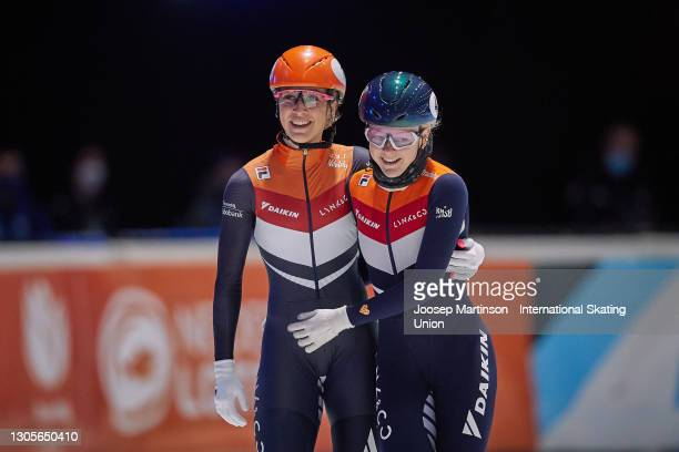 Suzanne Schulting celebrates with Xandra Velzeboer of Netherlands in the Ladies 1500m final during day 2 of the ISU World Short Track Speed Skating...