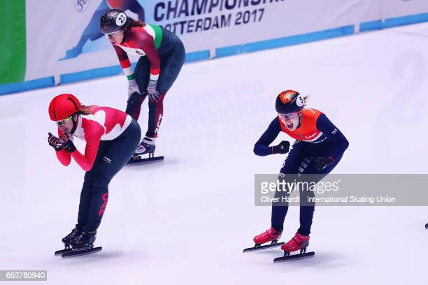 Suzanne Schulting of Netherlands celebrate after the Ladies 1000m semi finals race during day two of ISU World Short Track Championships at Rotterdam...