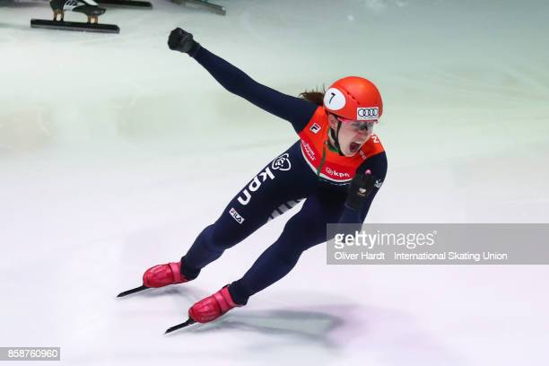 Suzanne Schulting of Netherlands celebrate after the Ladies 3000m Relay semi finals race during the Audi ISU World Cup Short Track Speed Skating at...